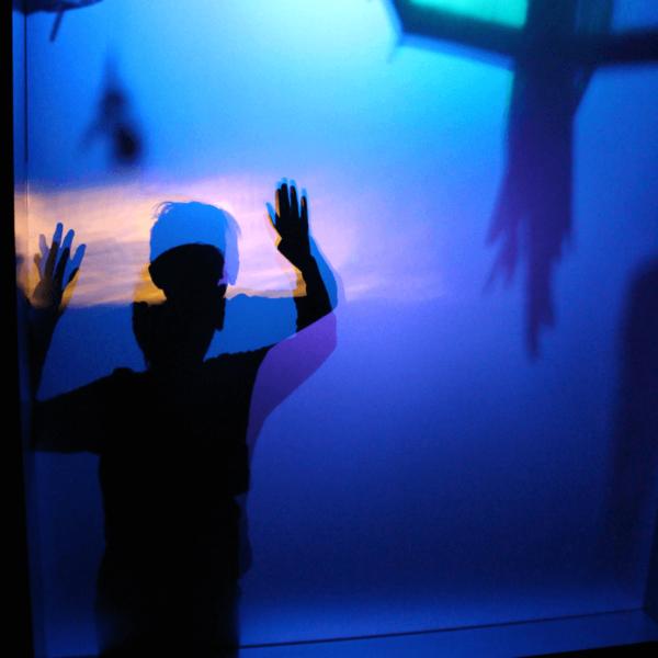 Silhouette enfant derrière écran ombre