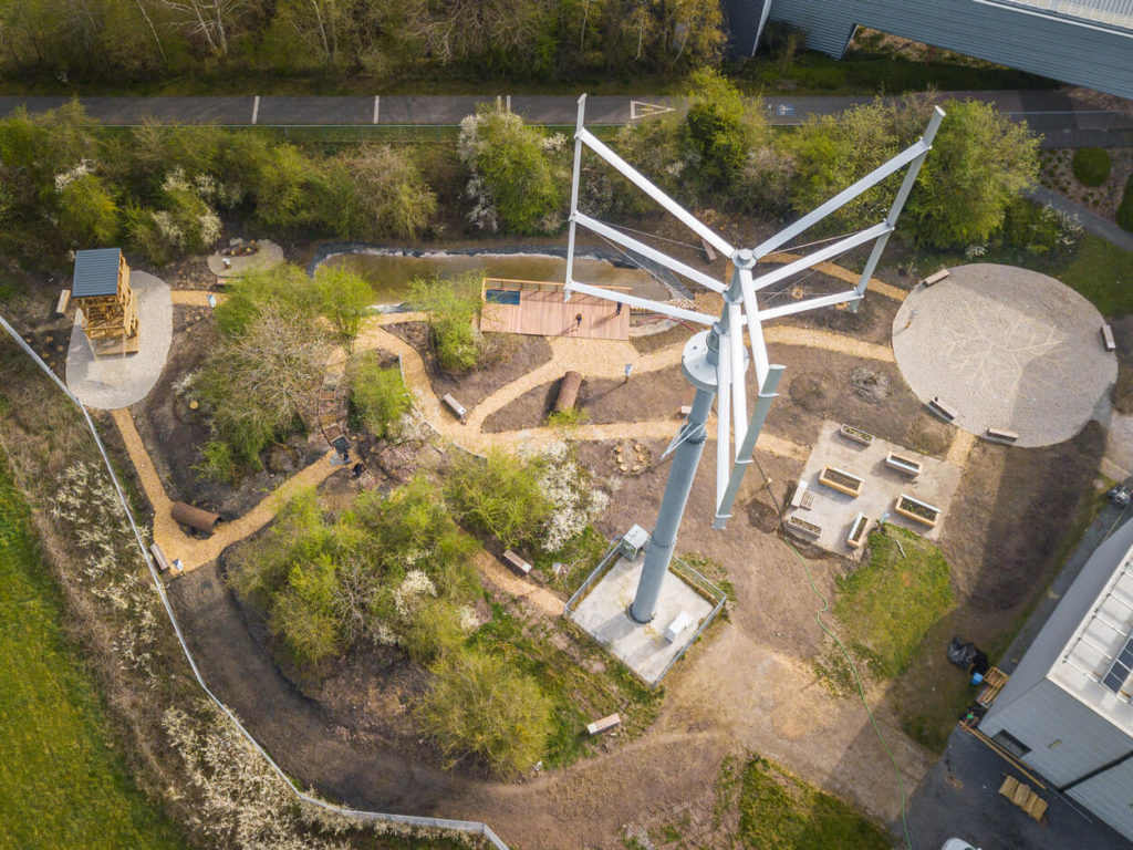 Image vue d'en haut par drone du Jardin de la Biodiversité