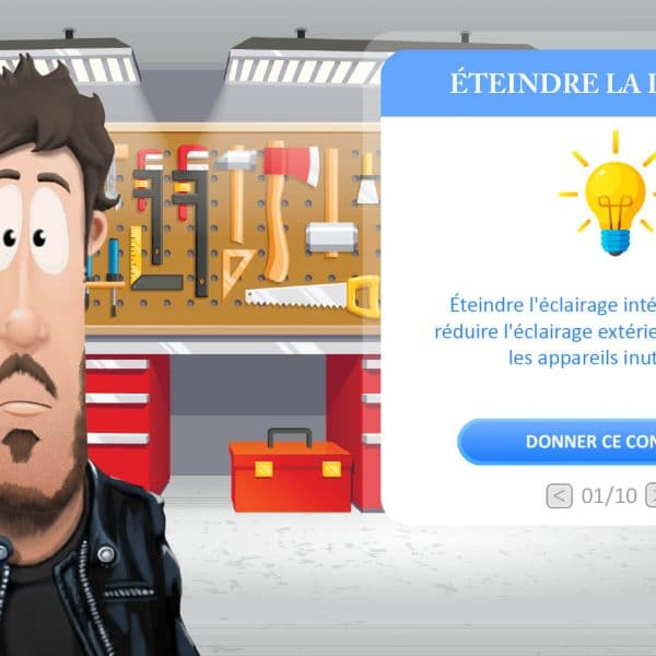 Personnage serious game conseil écolo